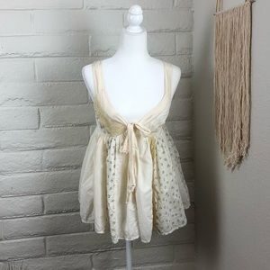 Anthropologie Lithe babydoll mixed media top